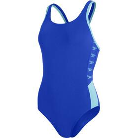 speedo Boom Logo Splice Muscleback Swimsuit Women, niebieski